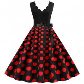 Платье черного цвета в красный горошек MN014-12