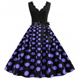 Черное платье в сиреневый горошек MN014-10