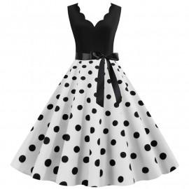Платье с белой юбкой в горох MN014-9