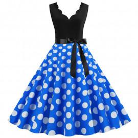 Платье с синей юбкой в горох MN014-7