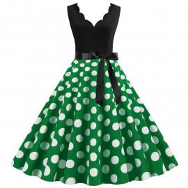Платье с зеленой юбкой в горошек MN014-8