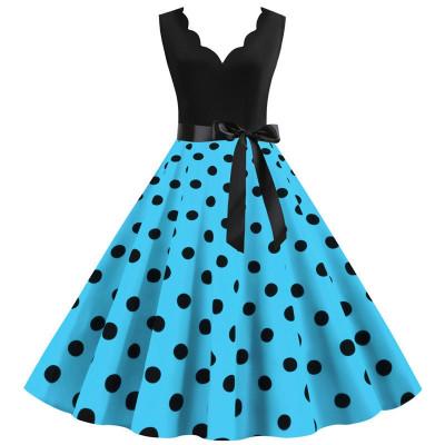 Платье с бирюзовой юбкой в горох MN014-6, размер 42 - 52