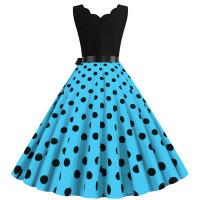 Платье с бирюзовой юбкой в горох MN014-6