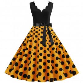 Платье с желтой юбкой в горох MN014-3