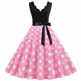 Платье с розовой юбкой в белый горошек MN014-5