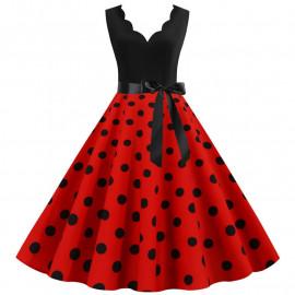 Платье с красной юбкой в черный горох MN014-4