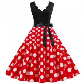 Платье с красной юбкой в белый горошек MN014-2