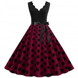Платье с бордовой юбкой в горох MN014-1