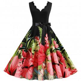 Платье в крупный цветок для полных MN013-6