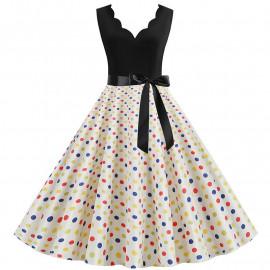 Женское платье в разноцветный горошек MN013-3