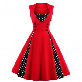 Винтажное красное платье MN011