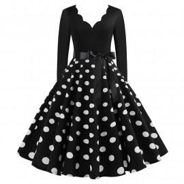 Черное платье в горошек с длинным рукавом MN009-9