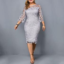 Серое вечернее платье большого размера MN005