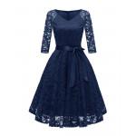 Темно-синее кружевное женское платье MN35-1