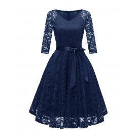 Темно-синее кружевное платье MN35-1