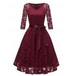 Бордовое кружевное женское платье MN35-2