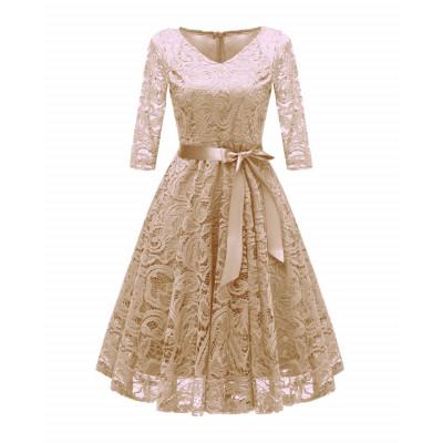 Бежевое кружевное платье MN35, размер 42 - 50