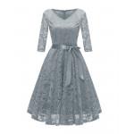 Серое кружевное женское платье MN35-3