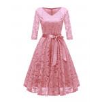 Розовое кружевное женское платье MN35-4
