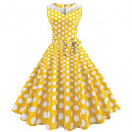 Желтое платье в белый горох MN171-6