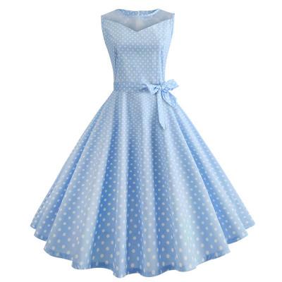 Светло-голубое платье в горошек MN171-5, размер 42 - 50