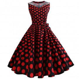 Черное платье в красный горох MN171-4