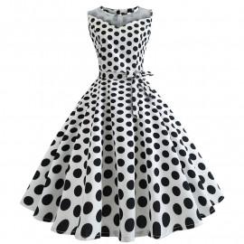 Платье в горошек в стиле ретро MN171
