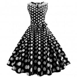 Черное платье в крупный белый горох MN171-3