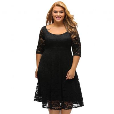 Черное нарядное платье для полных женщин MN30-3, размер 48 - 56