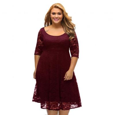 Женское вечернее платье для полных MN30-2, цвет бордовый, размер 48 - 56
