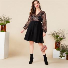 Женское платье с пайетками для полных MN004