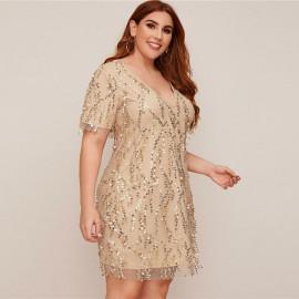 Нарядное платье больших размеров с пайетками MN003-2