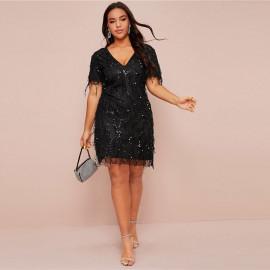Черное платье с пайетками для полных MN003