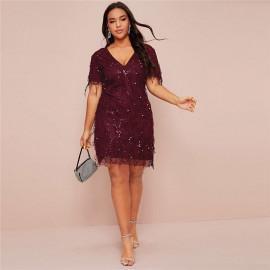 Вечернее платье с пайетками для полных MN003-1