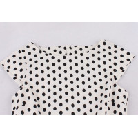 Белое платье в мелкий черный горошек MN204