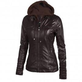 Утепленная кожаная куртка женская KR001-3