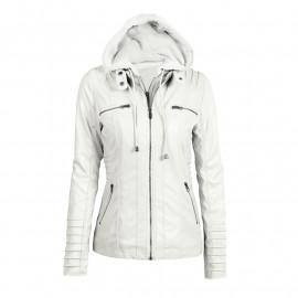 Кожаная куртка утепленная женская с капюшоном KR001-2