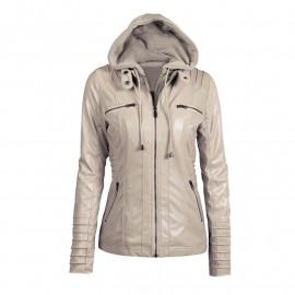 Куртка кожаная женская осенняя с капюшоном KR001-1
