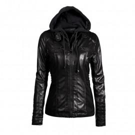 Черная кожаная куртка с капюшоном KR001-4