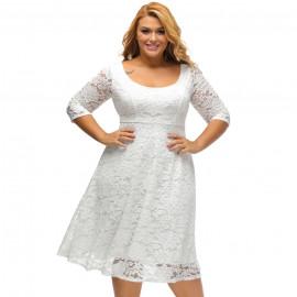 Нарядное кружевное платье большого размера MN30