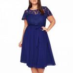 Синее вечернее платье для полных MN209