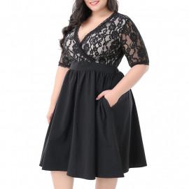 Вечернее платье черного цвета для полных MN208-1