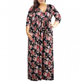 Летнее платье в пол для полных MN201-7