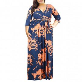 Длинное летнее платье для полных девушек MN201-6