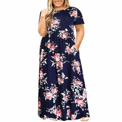 Летнее длинное платье в цветочек для полных женщин MN200-4