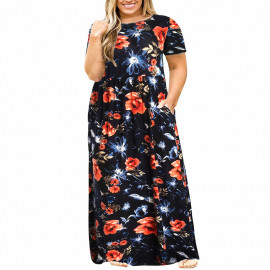Длинное летнее платье для полных девушек MN200-3