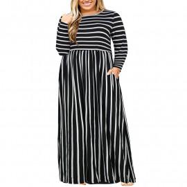Длинное платье в полоску для полных MN200