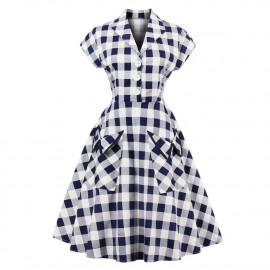 Женское платье в клетку большого размера ММ195