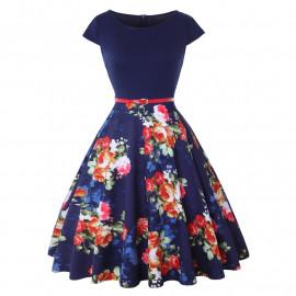 Темно-синее летнее платье в цветочек MN192-2
