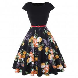 Летнее платье черное в цветочек MN192-4